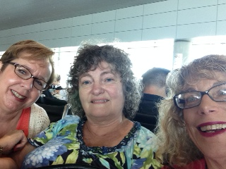 Airport selfie. Michele joined us.