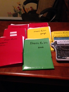 Doing research, reading and sorting it, is also part of my day. Khaos Rules has been transformed into ARIES, for which I was contracted with Black Opal Books in November, 2014.
