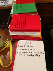 Cant forget my research files. Have to get the medical, police procedural and legal elements correct. This is the stack from Aries. And the beginning of Scorpio's. Gemini's folders are neatly on shelves.