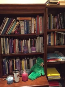 Book, books, and more books. On the spiritual, metaphysical, paranormal aspects of my studies, as well as books on writing.