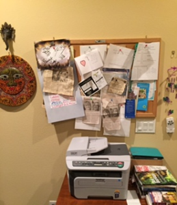 My bulletin board with writerly reminders, with my Sun God and Lord Ganesh facing me.